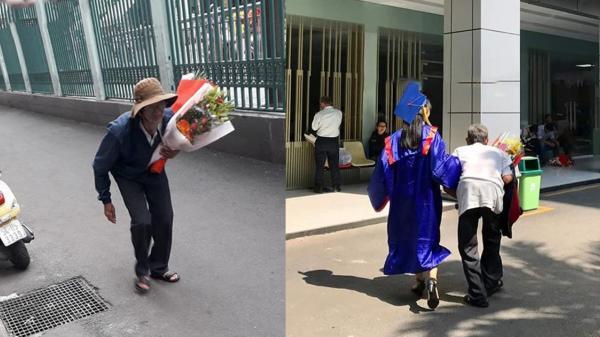 Bức ảnh người ông lưng đã còng ôm hoa đến tặng cháu gái trong dịp tốt nghiệp khiến nhiều người rưng rưng