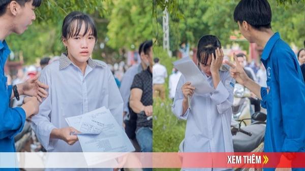 Nữ sinh khóc nức nở vì không làm được bài thi, nam tình nguyện viên tặng nước và an ủi cực có tâm