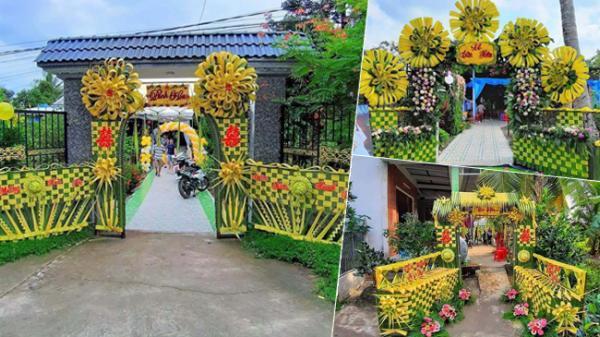 Hội chị em trầm trồ với những chiếc cổng cưới đan lá dừa, nhìn giản đơn mà cầu kỳ hơn cả cổng hoa nhựa