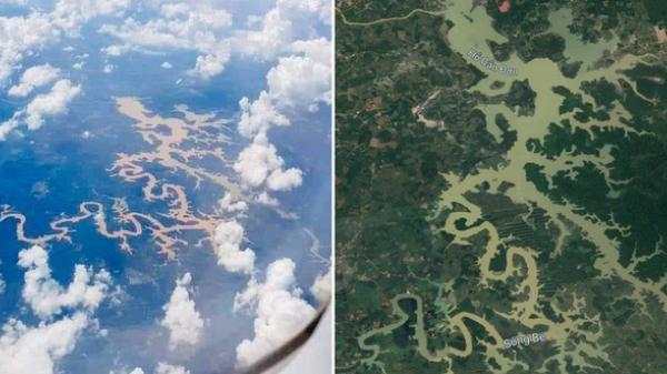 Dân mạng thích thú với dòng sông ở Việt Nam nhìn như chú rồng khổng lồ được du khách nước ngoài vô tình chụp được trên máy bay