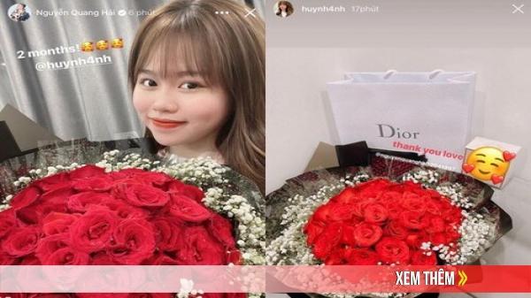 Sau sóng gió, Quang Hải tặng hoa cho Huỳnh Anh kỷ niệm 2 tháng yêu nhau