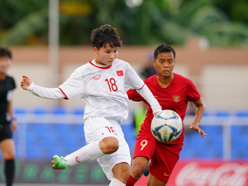 Nguyễn Thị Vạn là người xuất sắc ghi bàn thắng thứ 3 cho tuyển nữ tại trận Việt Nam - Indonesia. (Ảnh: webthethao/ thanhnien)