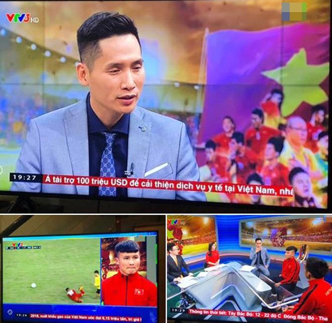MC Quốc Khánh dẫn chương trình giao lưu với cầu thủ Quang Hải, Văn Quyết hồi năm 2018 trên sóng Thời sự 19h